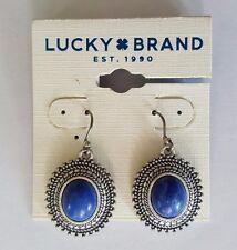 NWT Lucky Brand Earrings Silver Tone, Blue Semi Precious Stone JLD2162