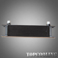 Universal 10 Row AN-10AN Engine Transmission Oil Cooler Black Aluminum