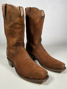 Men's Lucchese Boots Livingston Cognac Suede Leather Handmade Size 9 N1700.74