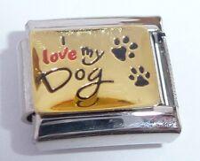 I LOVE MY DOG Italian Charm Gold Shiny - 9mm fits Classic Starter Bracelets E109