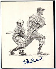 STAN MUSIAL CARDINALS HALL OF FAMER AUTOGRAPHED PICTURE WITH YOUNG HITTER