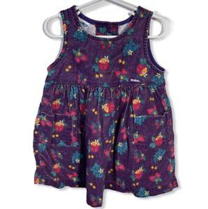 Vtg OshKosh BGosh Toddler USA Tree Floral fruit Corduroy Jumper Dress 3T E1