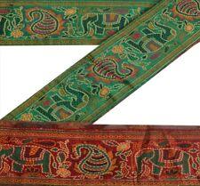 Sanskriti Vintage Sari Border Woven Deco Indian Trim Sewing Green Elephant Lace