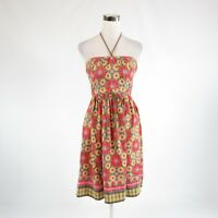 Slate blue red floral print ANTHROPOLOGIE PLENTY BY TRACY REESE sun dress 4