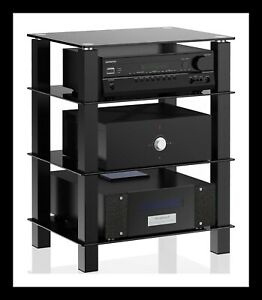 Glass TV Stand TV Unit | 4 Tier | Hifi | Media Rack with Audio Video Component S