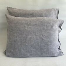 """Pillow Shams Heather Gray Linen Set of Two Standard 20"""" by 26"""""""