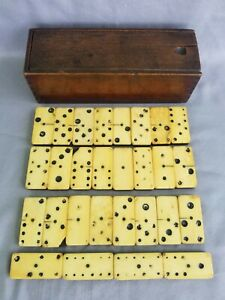 Antique Bone and Ebony Dominoes with Dovetailed Box 28