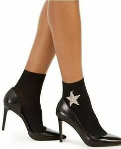 Womens Embellished Anklet Socks Rhinestone Star Black INC $14.99 - NWT