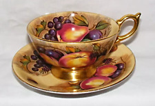 Aynsley China - Orchard Gold Cabinet Teacup and Saucer - Nancy Brunt - damaged