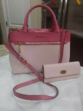Michael kors two pink tones handbag & matching envelope wallet in excellent cond