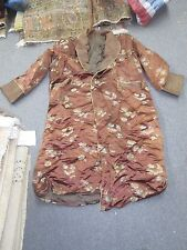Vintage Long Brown Lined Asian Chinese Men's Robe China Front Pockets L