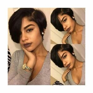 Short Lace Front Wigs Pixie Cut Wig Straight Brazilian Remy Hair Wigs Glueles...