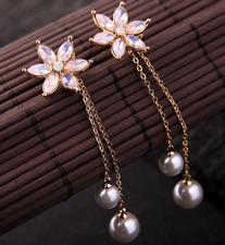 BJ New Fashion Woman Pink Alloy Rhinestone Pearl Flower Drop Earrings Jewelry