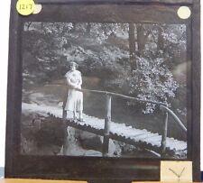 Antique Glass  Slide  Well Dressed Lady on A Bridge Magic Lantern 1920's
