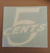 5 Cents Decal/Sticker Coca Cola, Fridge,Esky,Vintage,Pepsi,Fanta,SpriteWh110x100