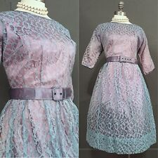 RARE Vintage 50s Pin Up Rockabilly Dress Blue Lace Party Swing Formal 60s L 14