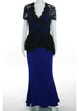REEM ACRA Electric Blue Black Lace Detail Short Sleeve Peplum Long Dress Sz 10