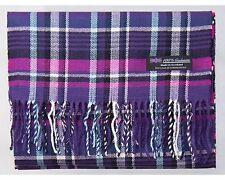 100% Cashmere Scarf Purple Blue Tartan Flannel Check Plaid Scotland Wool R935