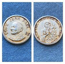 """Vtg 1978 Pope John Paul II Tin Medallion POLAND 1"""" Catholic Pocket Shrine Coin +"""