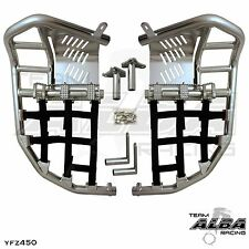 Yamaha YFZ 450  Nerf Bars  Pro Peg Heel Guard  Alba Racing  Silver Black 199T7SB