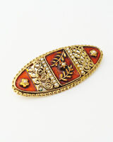 Vintage Enamel Filigree Brooch … Faux Seed Pearl Beads Gold Tone Oval Brooch