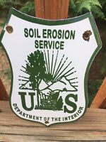 "Vintage US Department Of The Interior Porcelain Sign 7.5""x4.5"""