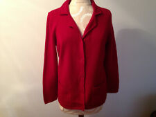 KATE HILL Petites Red Pure New Wool Knit Long Sleeve Button Sweater Size PS