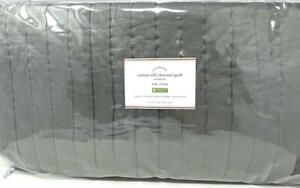 New~Pottery Barn Cotton Silk Channel Quilt~KING~Flagstone Gray