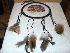 DREAMCATCHER WITH A PICTURE OF WOLVES WOLF (E) ( MEDIUM )