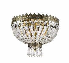 """3-Light Antique Bronze D 12"""" H 10"""" Frigg Crystal Chandelier Ceiling Light"""