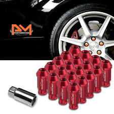 M12X1.25 Red JDM Open-End Acorn Hex Wheel Lug Nuts+Extension 25mmx50mm Tall 20Pc