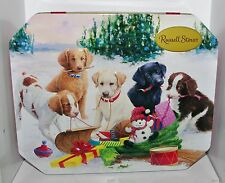 James Killen CHRISTMAS TREASURES TOBOGGAN DOGS Russell Stover EMPT Tin Container