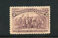 UNITED STATES SCOTT#231 2c  COLUMBIAN  MINT LIGHT  HINGED VF/XF CENTERING OG
