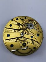Early Swiss Raffin Geneve Cylinder Pocket Watch Movement for Repair (D62)