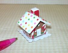 Miniature Christmas Gingerbread House, GUMDROP Roof for DOLLHOUSE, 1/12 Scale