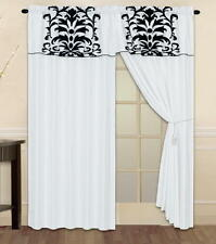 White Black Luxury Flocked Window Curtain Panels Liner Tassel ONLY AT LINENPLUS
