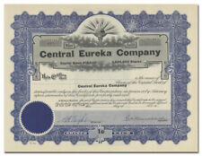 Central Eureka Company Stock Certificate (Mining, Tintic District, Utah)