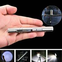 Pocket Flashlight Stainless-Steel LED Torch Light Mini Pen USB Rechargeable Tool