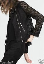 Zara Biker style Lace blazer Jacket motocicleta chaqueta chaqueta de encaje size s 34 36