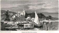 FEZZANO: Panorama. PORTO VENERE. Golfo Dei Poeti. La Spezia. Stampa Antica. 1880