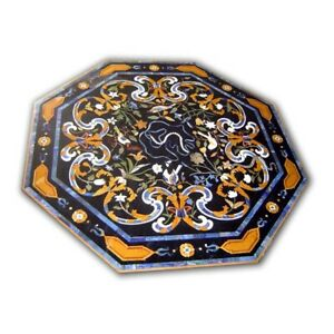 Black Octagon Marble Dining Table Top Precious Marquetry Floral Inlay Decor B423