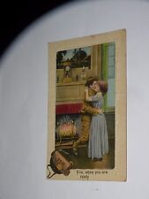 VINTAGE FIRE WHEN YOU ARE READY US MILITARY SOLDIER VALENTINE POSTCARD KISSING