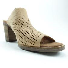 Toms Womens Sandals Beige Cut Out Block Heel Slip Ons 9 New