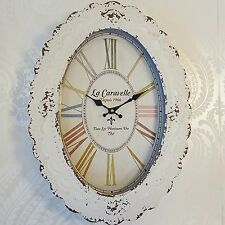 Cream Vintage Style Oval Wall Clock Shabby Chic Distressed Style