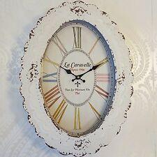 Reloj De Pared Oval Crema Estilo Vintage Shabby Chic Estilo Envejecido