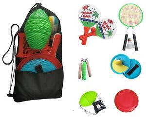Garten & Strandspiele Set Beachball Klettball Frisbee Mini-Badminton Boing Ball