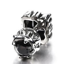 silver stud stainless steel black crystal SINGLE vintage style earring 2 sides