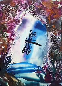 New Encaustic wax Secret life of Dragonfly picture original art work waterfall