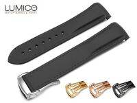 20mm 22mm For OMEGA Watch BLACK Rubber Strap Band Clasp SeaMaster Planet Ocean
