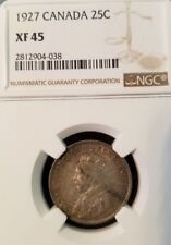 1927 CANADA 25 CENTS 25C GEORGE V NGC XF 45 LOW MINTAGE SCARCE IN HIGH GRADE